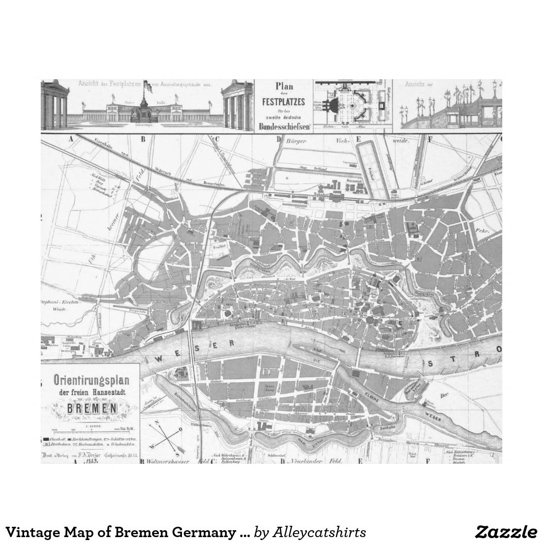 Vintage Map of Bremen Germany (1865) Fleece Blanket | Fleece ...