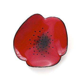 Red Poppy Brooch made from copper and vitreous enamel by Megan Perkins, $153:
