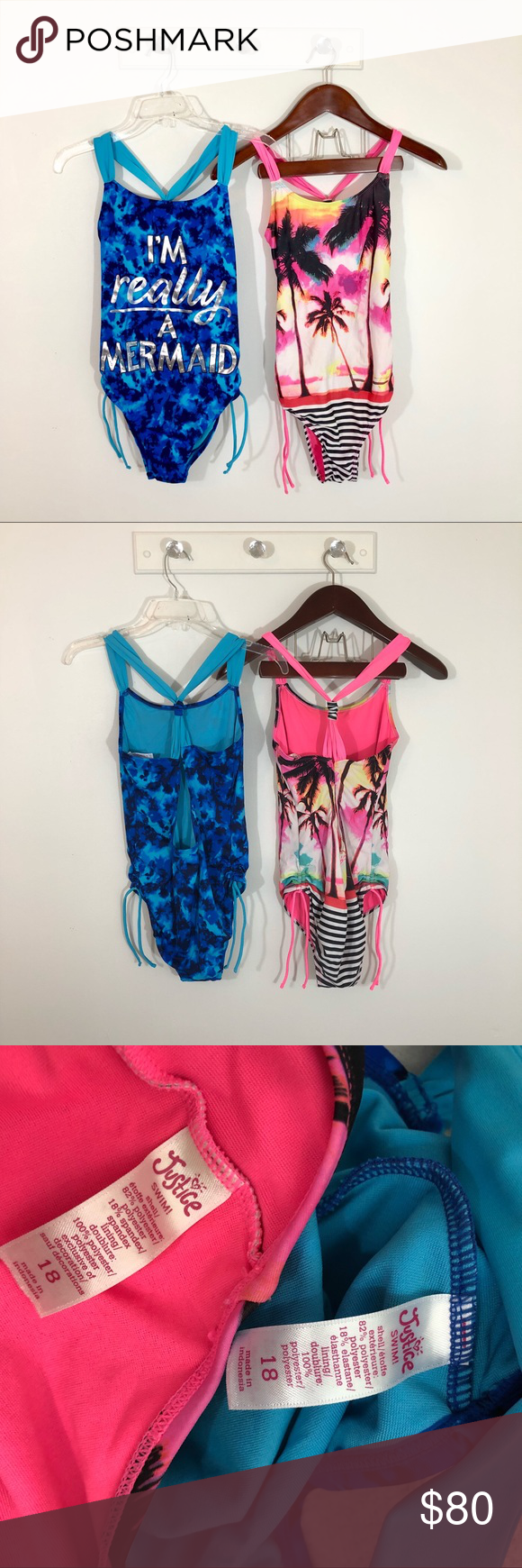 a6fd5ea0b85 Justice One Piece Swimsuit Bundle Two Lot Swim 18 Both size 18 Two one  piece swimsuits Mermaid script has some light cracking Striped has some  wear on ...