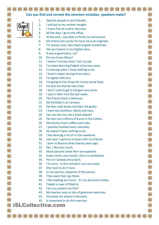 45 common mistakes | TEFL | Word order, Pronoun worksheets, Worksheets