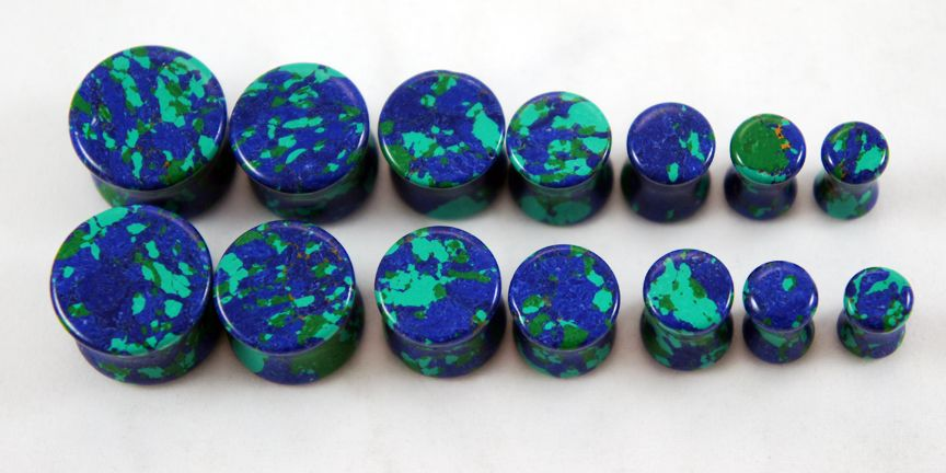 PAIR-Stone Agate Crazy Blue Saddle Flare Ear Tunnels 03mm//8 Gauge Body Jewelry