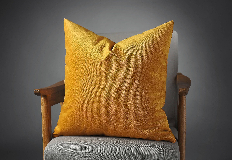 Mustard Cotton Velvet Pillow Cover