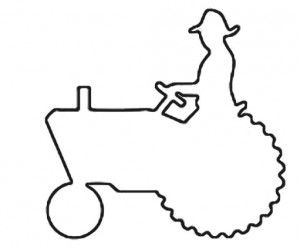 Riding a John Deer Tractor outline  Free Craft Patterns
