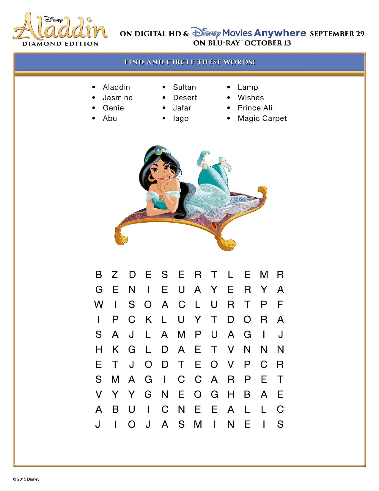 Free Printable Disney Aladdin Activity Sheets Diamond Edition