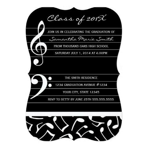 Music Graduation Party Invitation Announcements Party