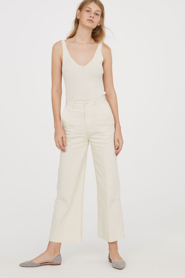 Genis Kot Pantolon Beyaz Kadin H M Tr Moda Stilleri Kadin Kotlar
