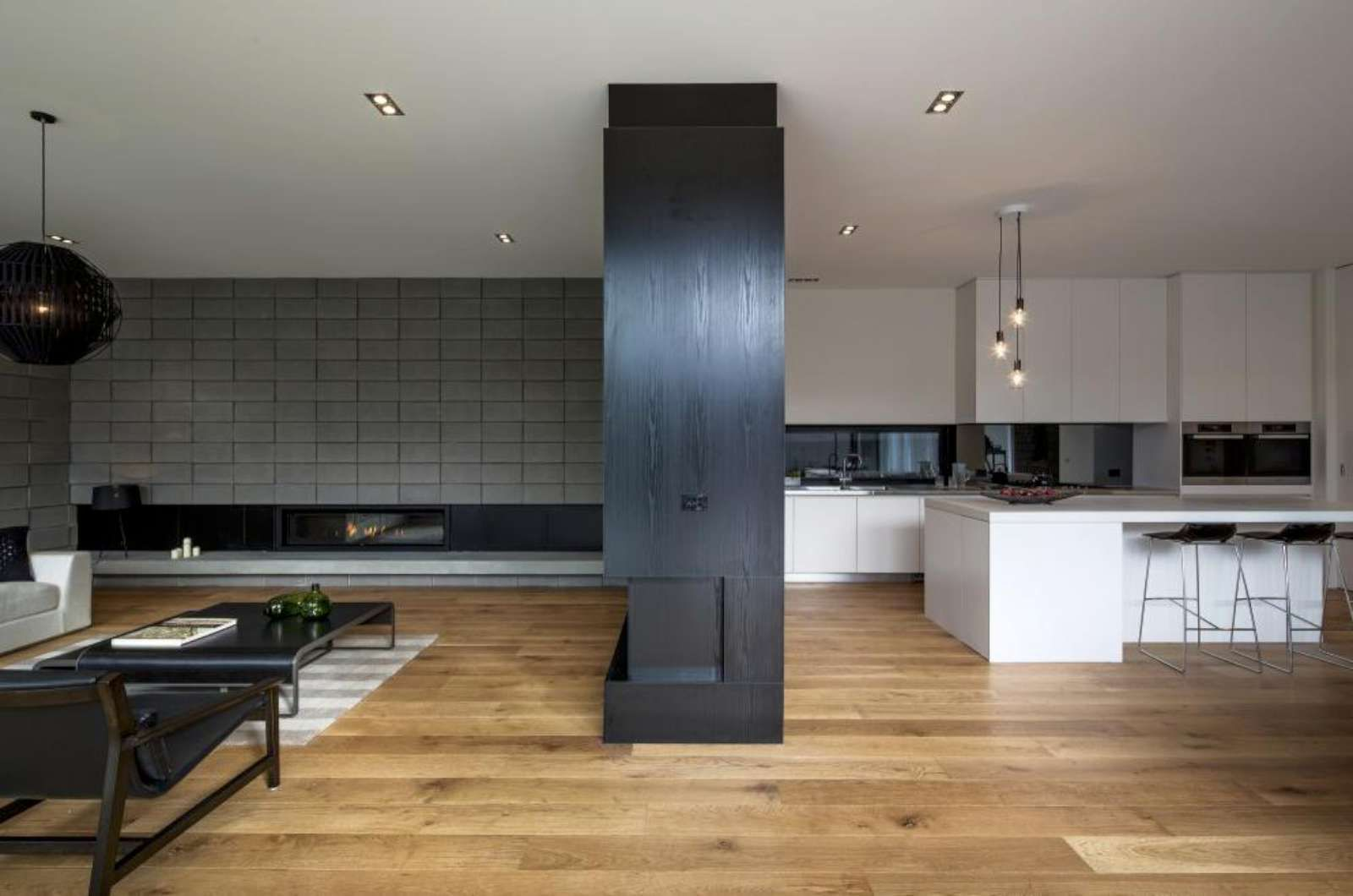 Biala I Ciemna Jasna Podloga Cinder Block House House White Kitchen Furniture