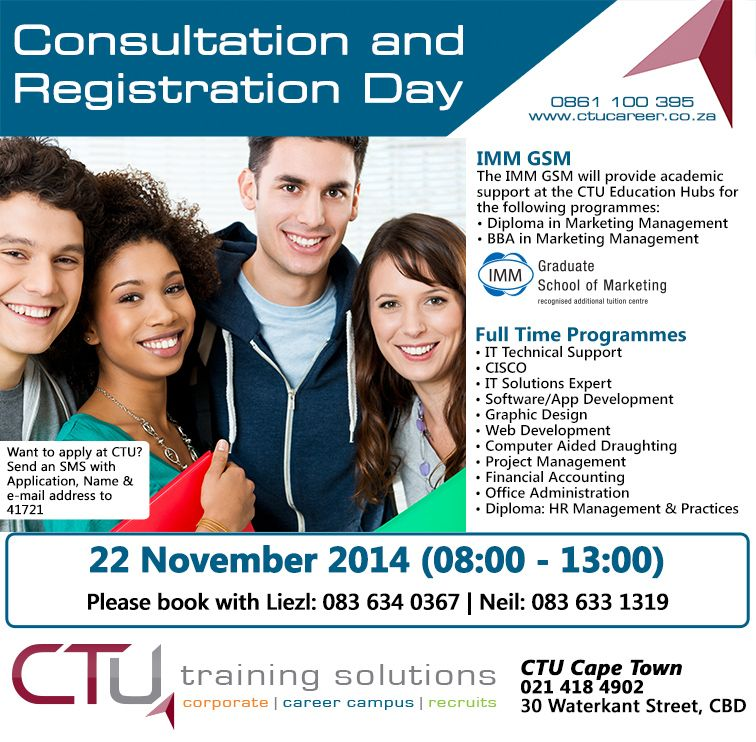 Consultation and Registration Day at CTU Cape Town  www ctucareer co
