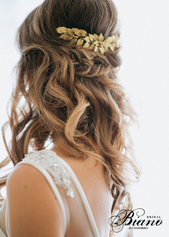 bridal hair comb leaf, wedding hair comb. headpiece for half