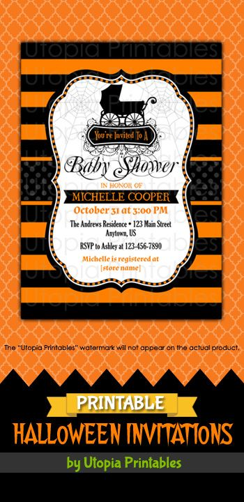 Gothic halloween baby shower invitation fancy elegant theme baby printable fancy elegant gothic halloween baby shower invitation in black and orange with spiderwebs and a vintage baby buggy premium professional digital filmwisefo