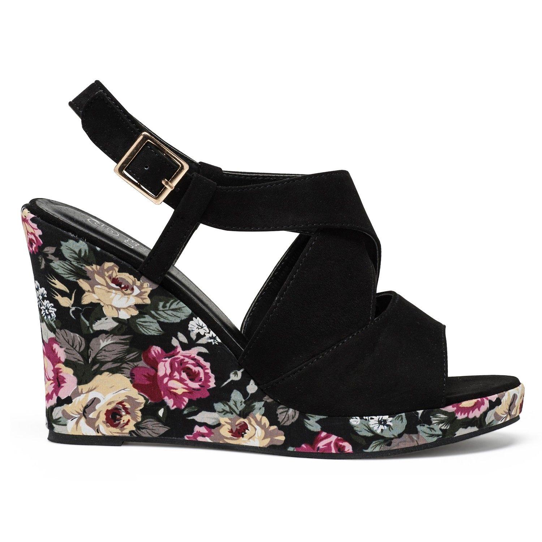Sandales noires à talon compensé fleuri | Talons compensés