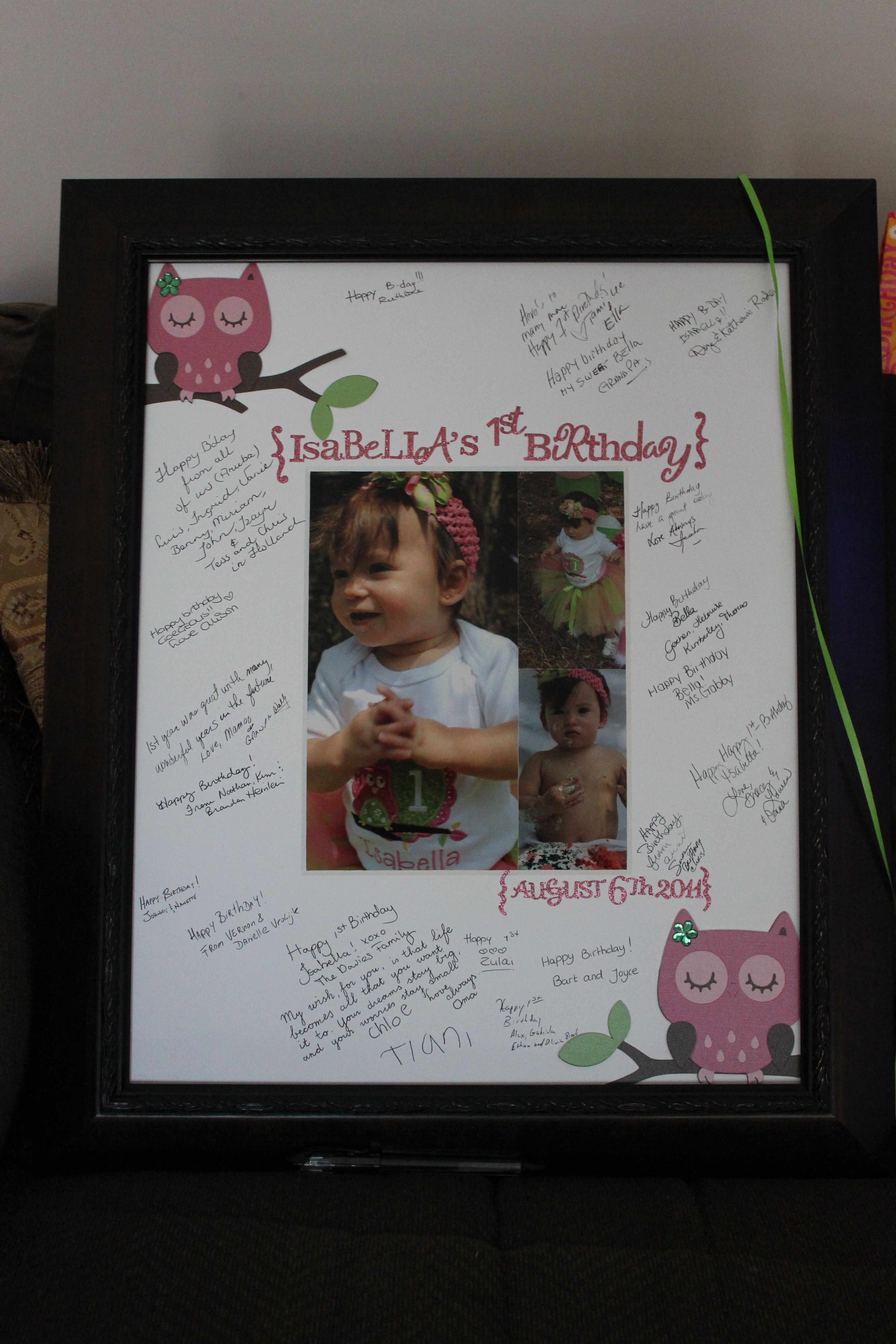 Owl Birthday Signature Frame I bought the outside frame at Michael\'s ...