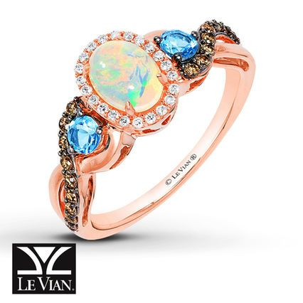 Jared LeVian Opal Ring 14 ct tw Diamonds 14K Strawberry Gold
