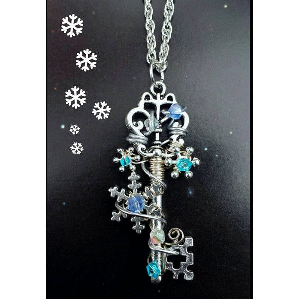 Snowflake key necklace crystal necklace keyblade necklace fantasy snowflake key necklace crystal necklace keyblade necklace fantasy 20 aloadofball Choice Image
