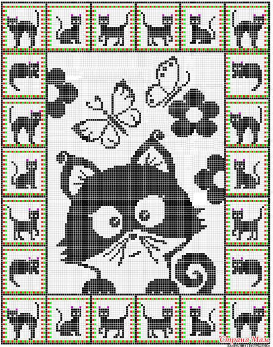 Cat graphgan. For crochet but I would do cross stitch or needle ...