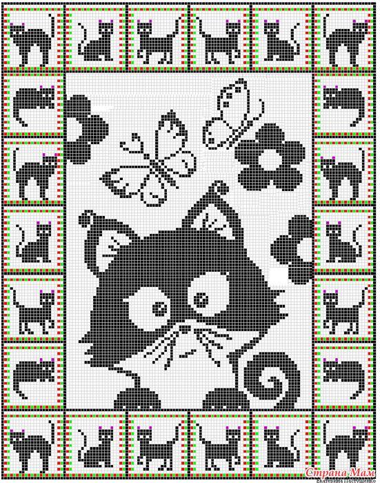 Kitten Knitting Chart : Cat graphgan crochet more gatti cats