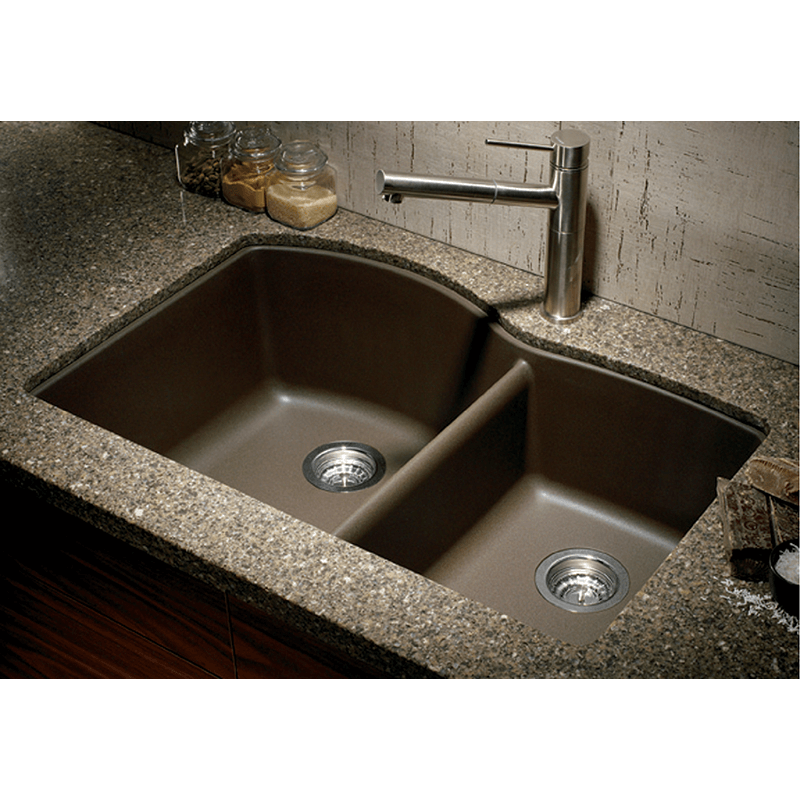 Blanco Diamond 32 Granite 60 40 Double Basin Undermount Kitchen Sink In Cafe Brown Size 32 Granite Kitchen Sinks Composite Kitchen Sinks Kitchen Sink Remodel