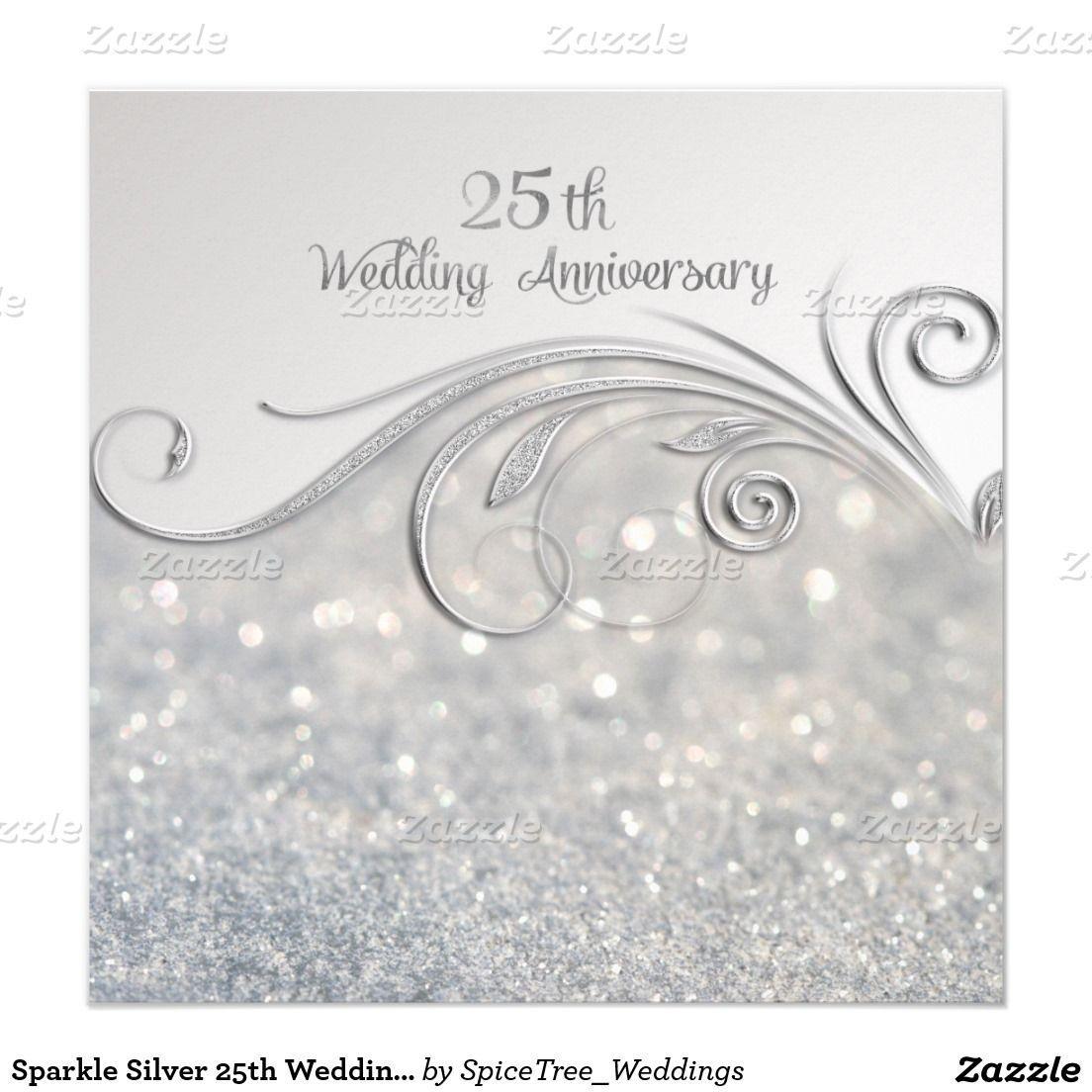 Silver Wedding Anniversary Gowns: Sparkle Silver 25th Wedding Anniversary Invitation