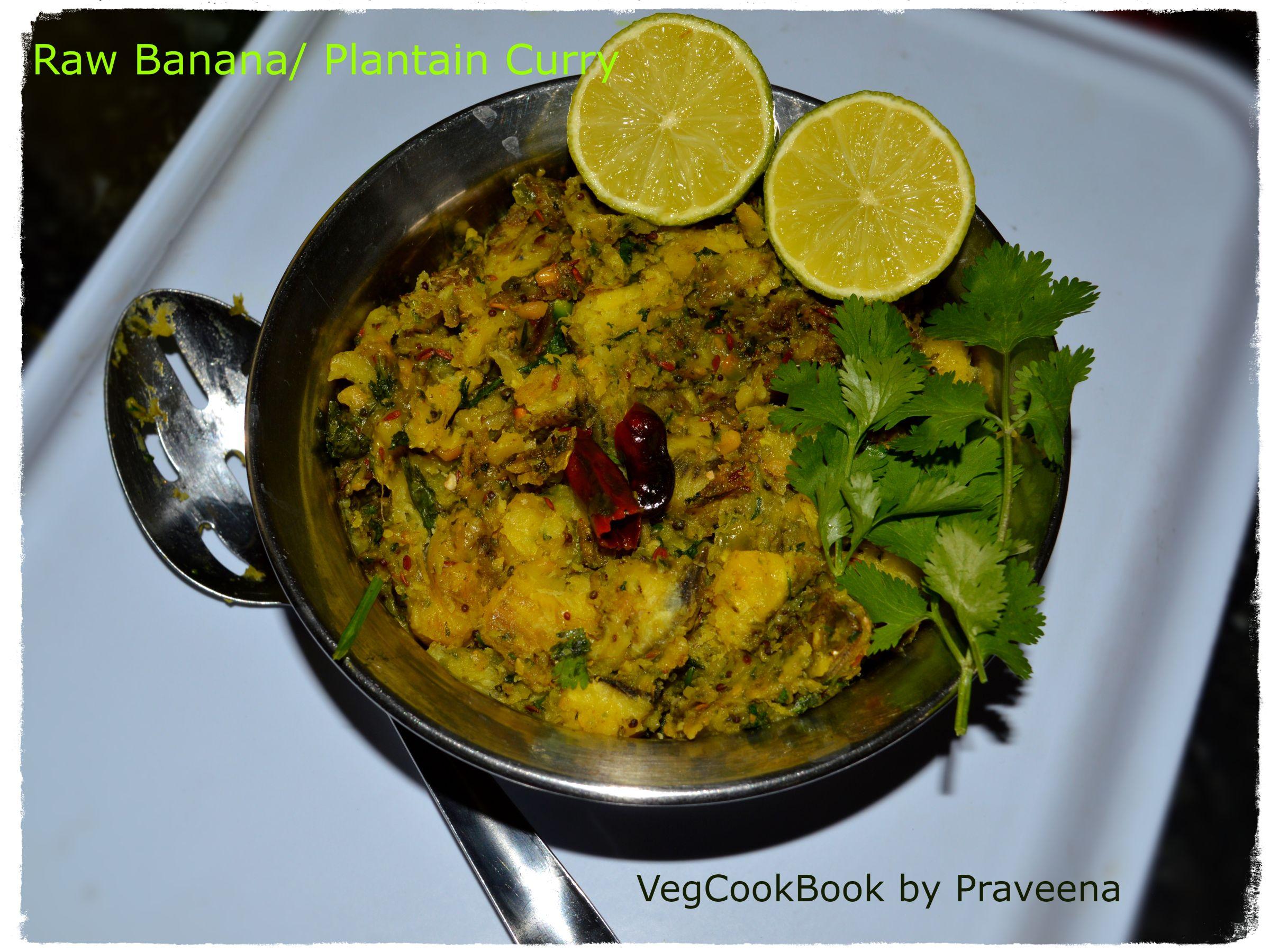 Raw Banana Curry Wet Aratikaya Muddha Koora Vegcookbook By Praveena Raw Banana Banana Curry Indian Food Recipes Vegetarian