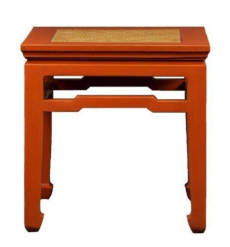 Antique Revival Xian-Style Wooden Square End Table, Orange by Antique Revival. $168.27. Handmade from solid elm wood. Handweaved rattan top. Ships in one box. Wipe down with lemon oil for beautiful shine. An end-table with Chinese sensibilities, this handcrafted stand is weaved with rattan on the top, for a more organic finish. This distinct stand measures 14 inch by 14 inch on the surface, making it the perfect size designing your home. Also makes a great gift!