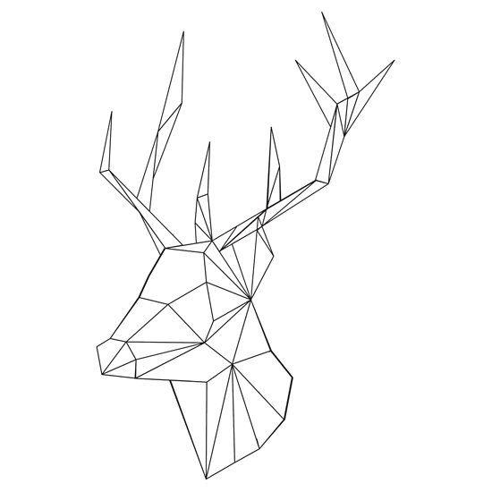 geometric deer unisex t shirt diy tattoo vorlagen zeichnungen hirsch tattoo. Black Bedroom Furniture Sets. Home Design Ideas