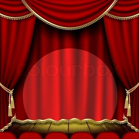 Retro Frame On The Black Damask Background Vector Colourbox Red Curtains Theatre Stage Graphic Poster Art