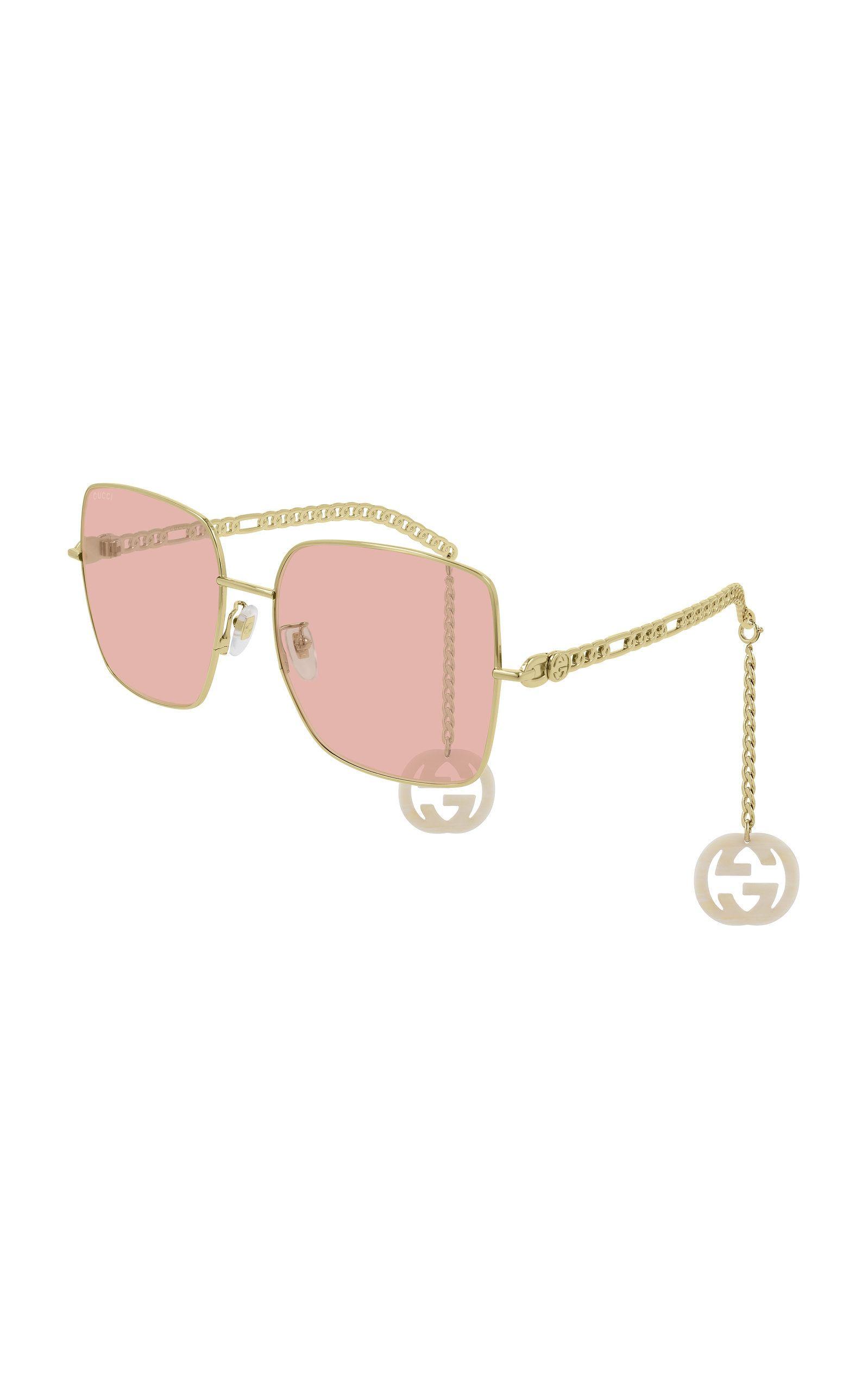 Chain Detailed Square Frame Sunglasses By Gucci Now Available On Moda Operandi Sunglass Frames Sunglasses Glasses Fashion