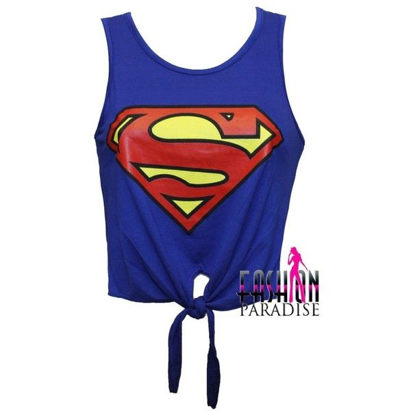 eaef8101ed5cf LADIES WOMENS SUPERMAN LOGO PRINTED CROP TOP TIE T SHIRT VEST SIZE 8... ❤  liked on Polyvore