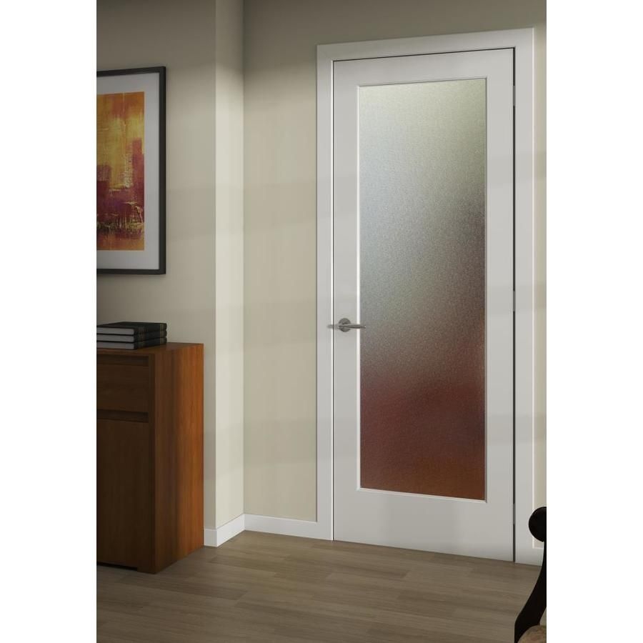 Reliabilt Primed White 1 Panel Solid Core Patterned Glass Wood Slab Door 36 In X 80 In Actual 36 In X 80 In Slab Door Door Glass Design Glass Doors Interior