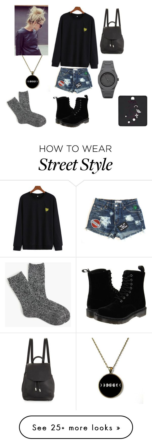 """""""Street style"""" by alexandra-ac on Polyvore featuring Dr. Martens, rag & bone, CC, J.Crew, sport and Street"""