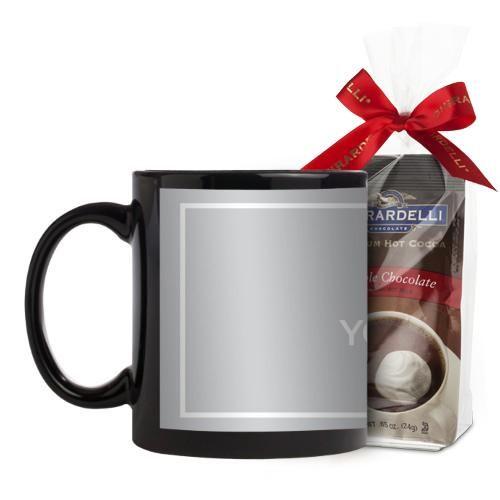 Upload Your Own Design Mug, Black, with Ghirardelli Premium Hot Cocoa, 11 oz