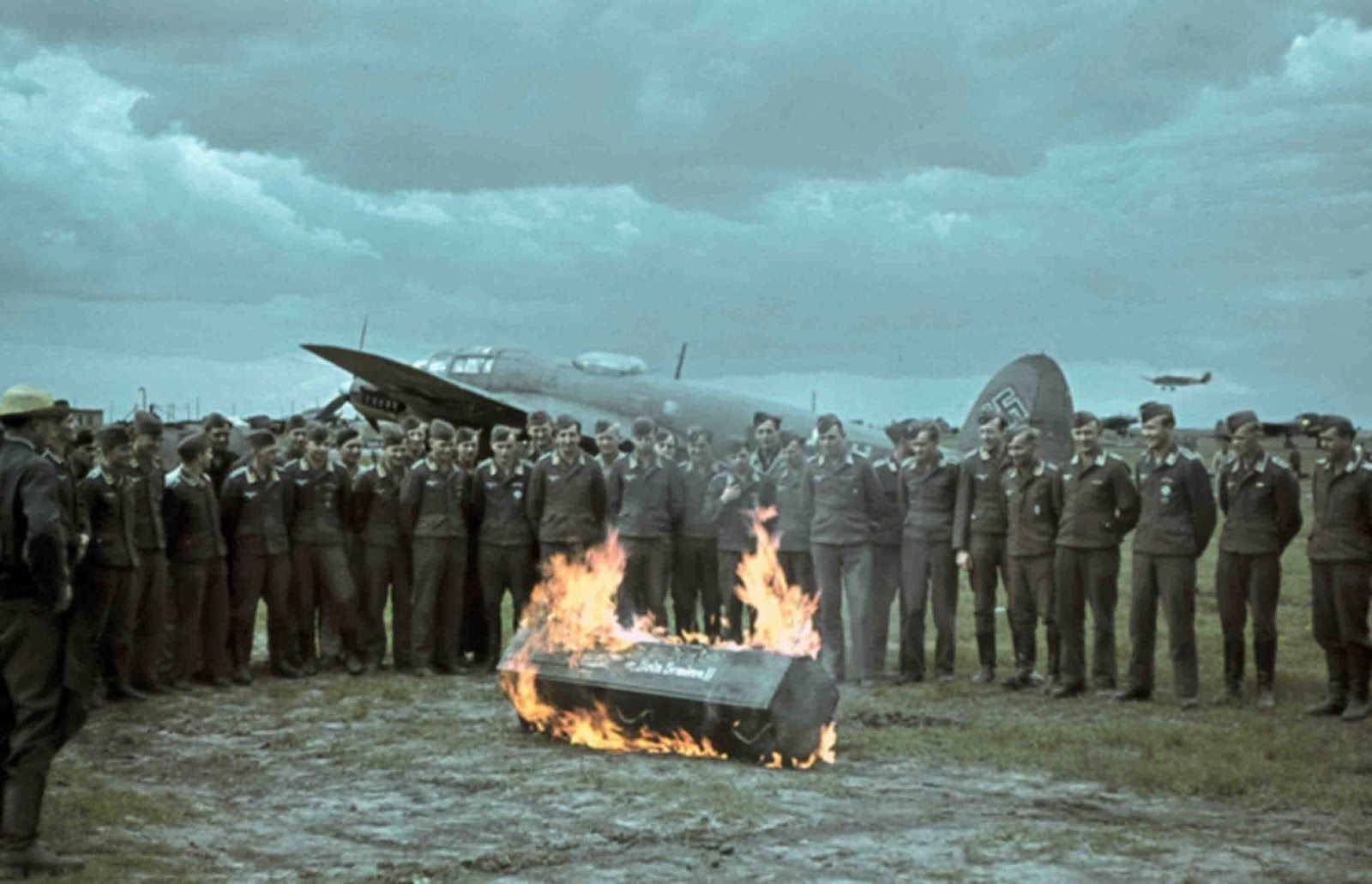 the german pilots of the bombers heinkel he 111 and symbolic funeral at a coffin inscription in. Black Bedroom Furniture Sets. Home Design Ideas
