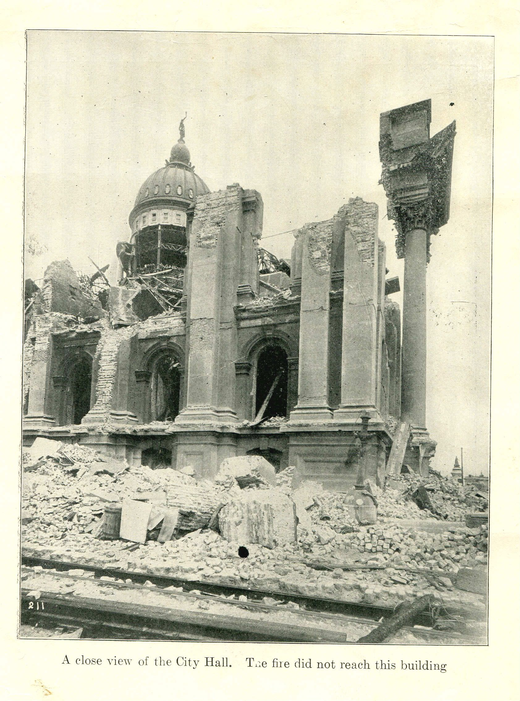 A close view of the City Hall. The fire did not reach this building. San Francisco Earthquake of 1906.