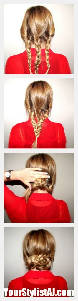 Begin with three regular three strand braids and wrap with clear elastic  Loosely braid all three strands together in a regular three strand braid and wrap with clear elastic  Roll the braid up, hiding the tail, and secure.