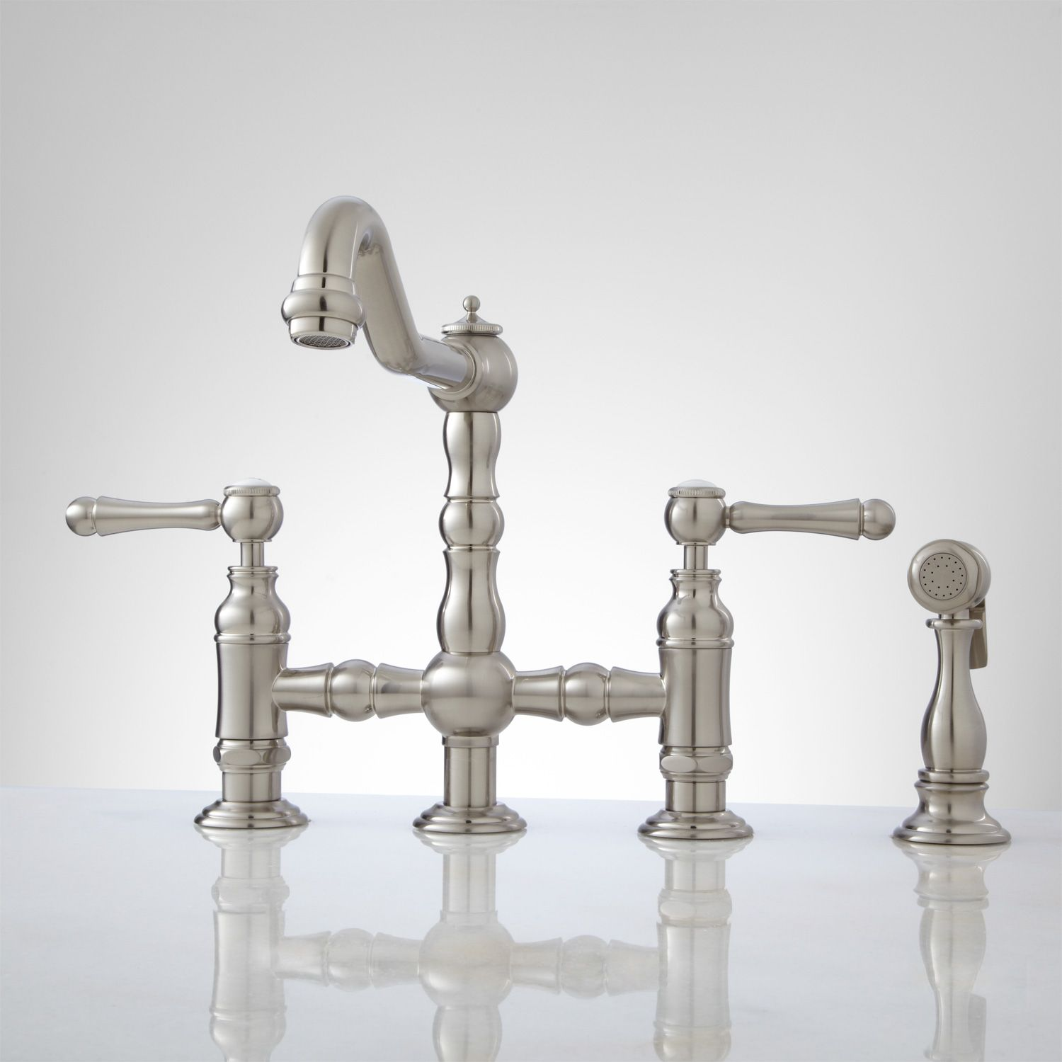 Rohl Country Kitchen Faucet Delilah Deck Mount Bridge Faucet With Side Spray Lever Handles