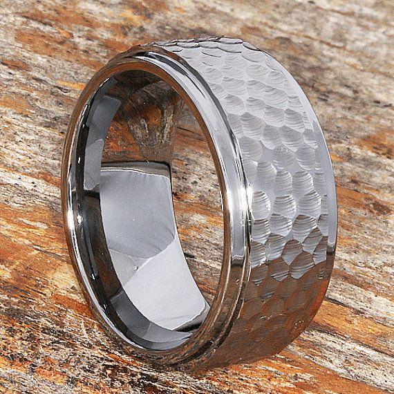 Hammered Ring Mens Tungsten Wedding Band Tungsten Wedding Etsy Rings For Men Tungsten Mens Rings Tungsten Wedding Bands