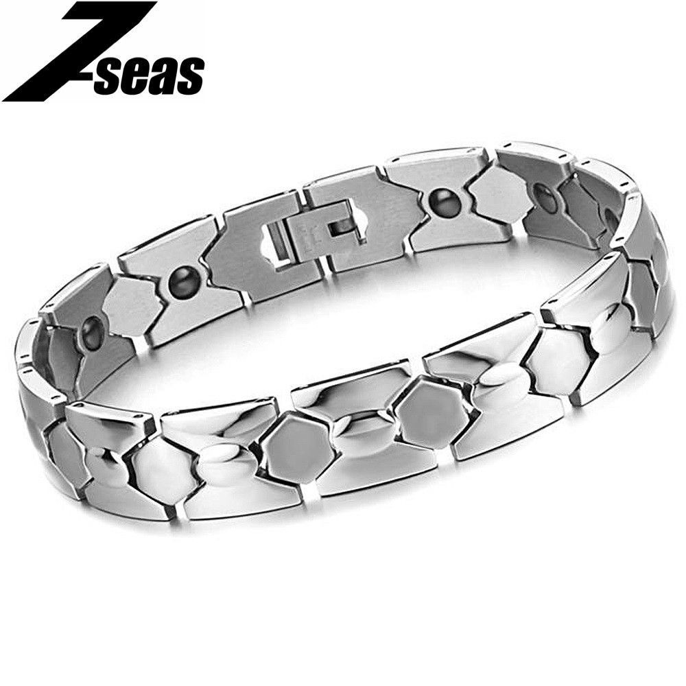 Vintage JEWELRY Hot Sale Attractive Men Jewelry Fashion Magnetic Energy Balance Bracelets & Bangles Steel Man Bracelet 3362