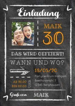 Kreide Party 30 Mit Foto Einladungen Einladungskarten