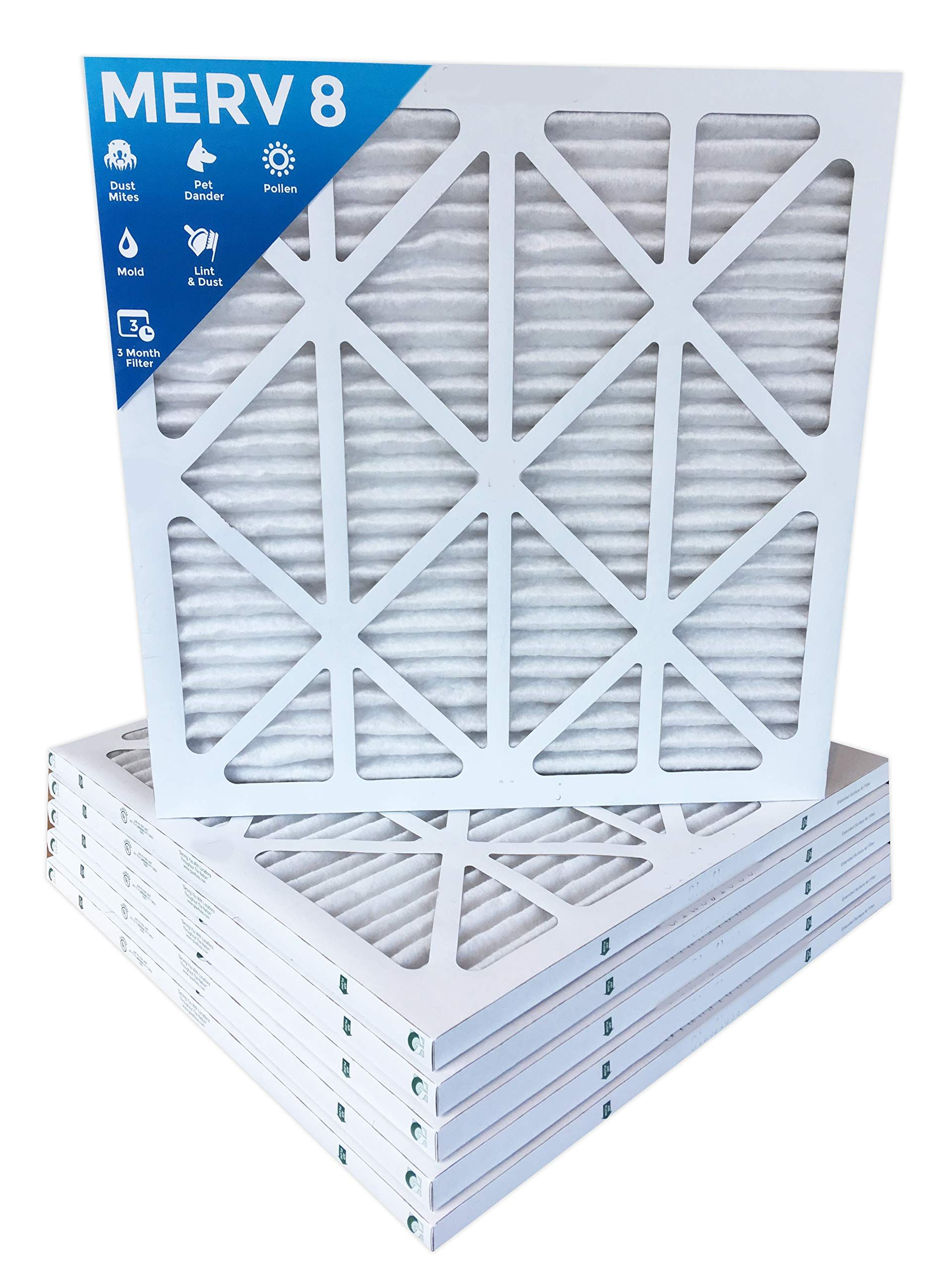 20x20x1 MERV 8 Pleated AC Furnace Air Filters. 12 PACK