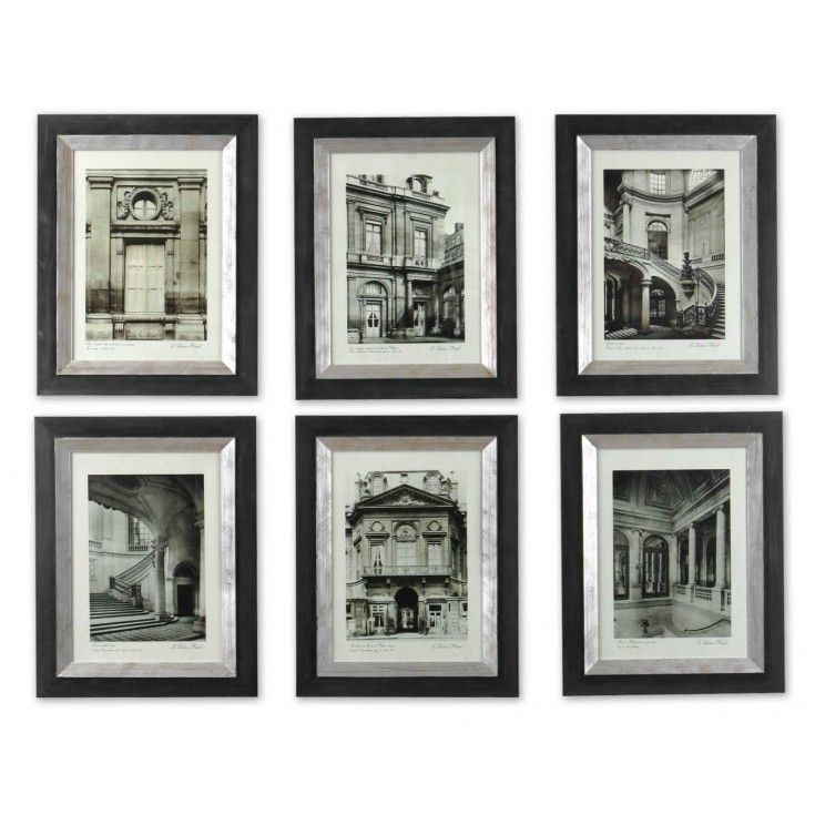 Set 6 streets of paris framed art these monotone prints are accented by wooden