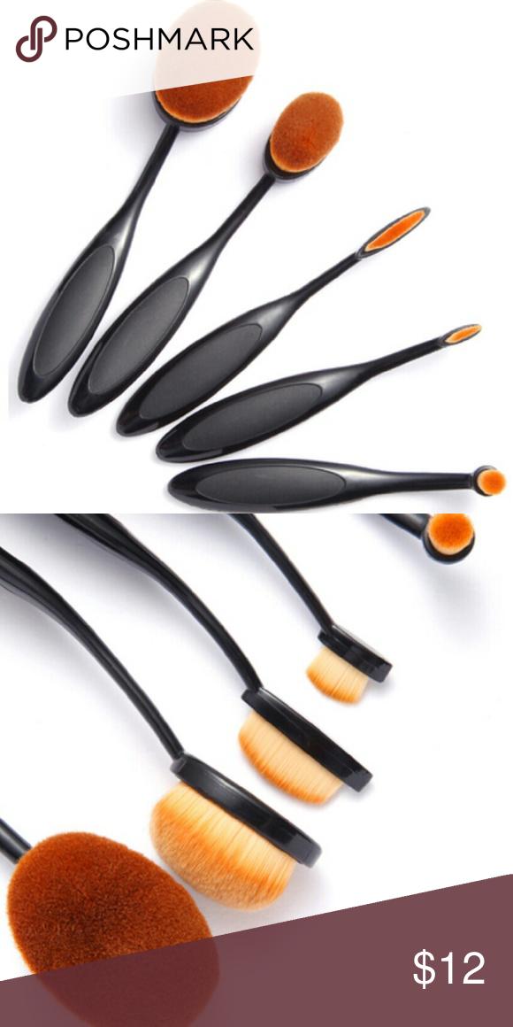 Oval Make Up Brush Set Makeup brush set, Oval makeup