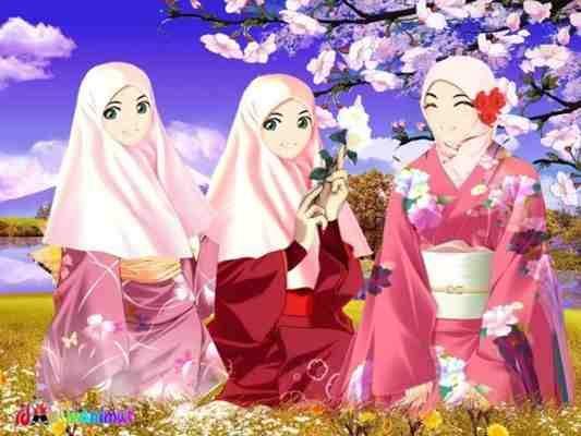 Idkawan Imut 3 Muslimah Jepang Gambar Bergerak Animasi Cantik Berjilbab Kerudung Lebar Yang
