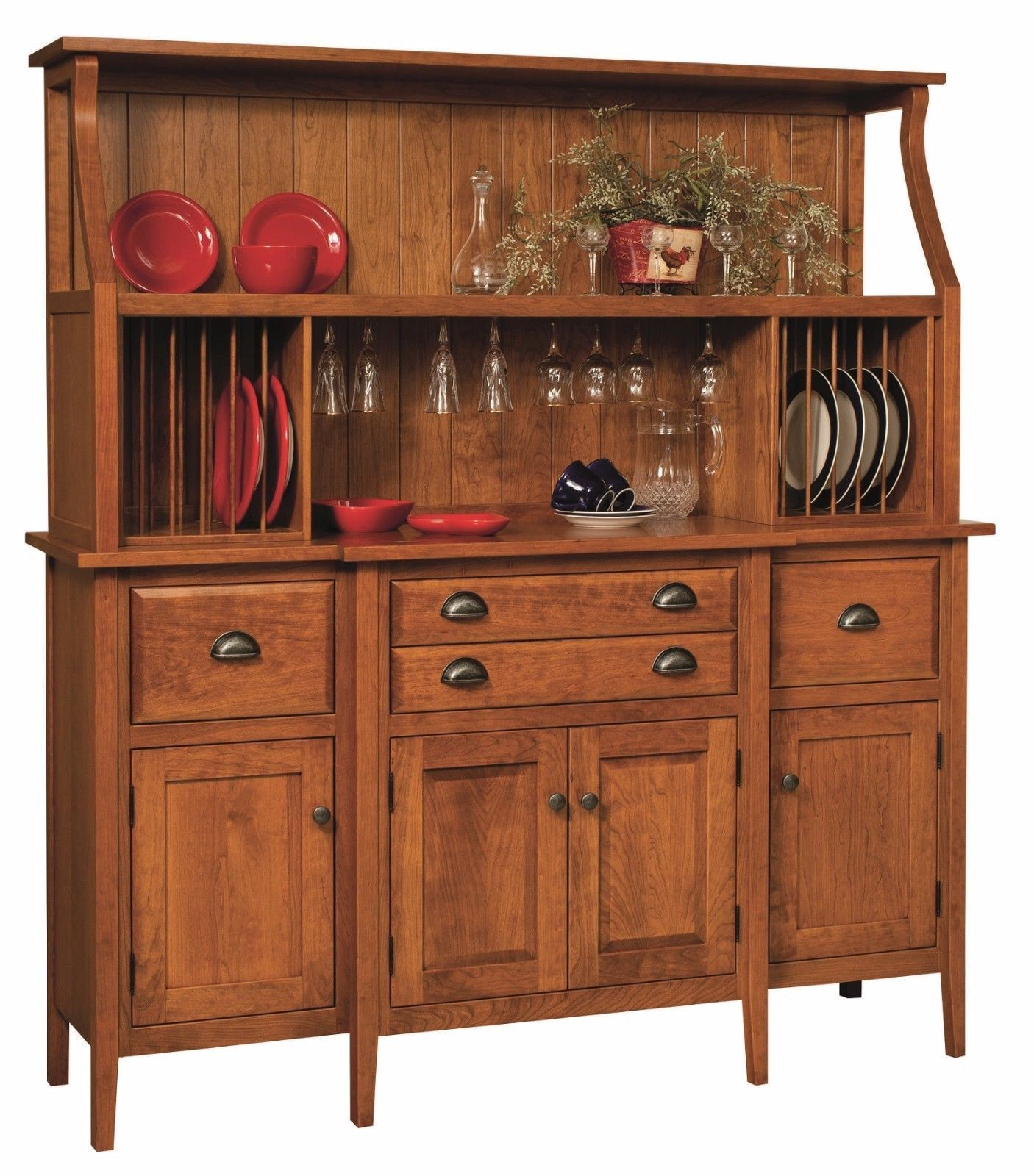 Amish Shaker Country Hutch Buffet Server China Cabinet Solid Wood ...