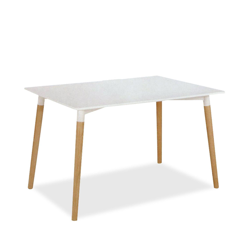 Disponible en sobre blanco.     Patas de madera natural de haya.     Estilo nórdico.  Mesa de madera en sobre blanco de 140x90 cm de estilo nórdico, perfecta para salones o comedores.