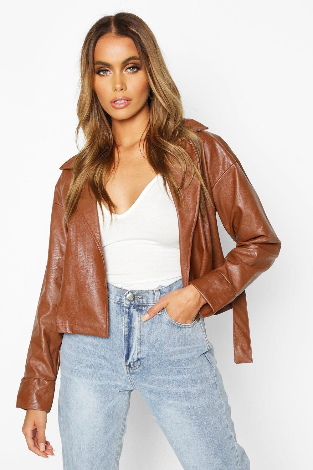 Covered Buckle Belted Faux Leather Jacket Boohoo Leather Jacket Faux Leather Jackets Brown Leather Jacket [ 1500 x 1000 Pixel ]