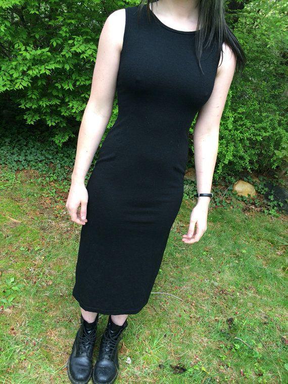 90's Dress Bodycon Midi / Black Sleeveless Calf by SoSuckyNY, $23.46