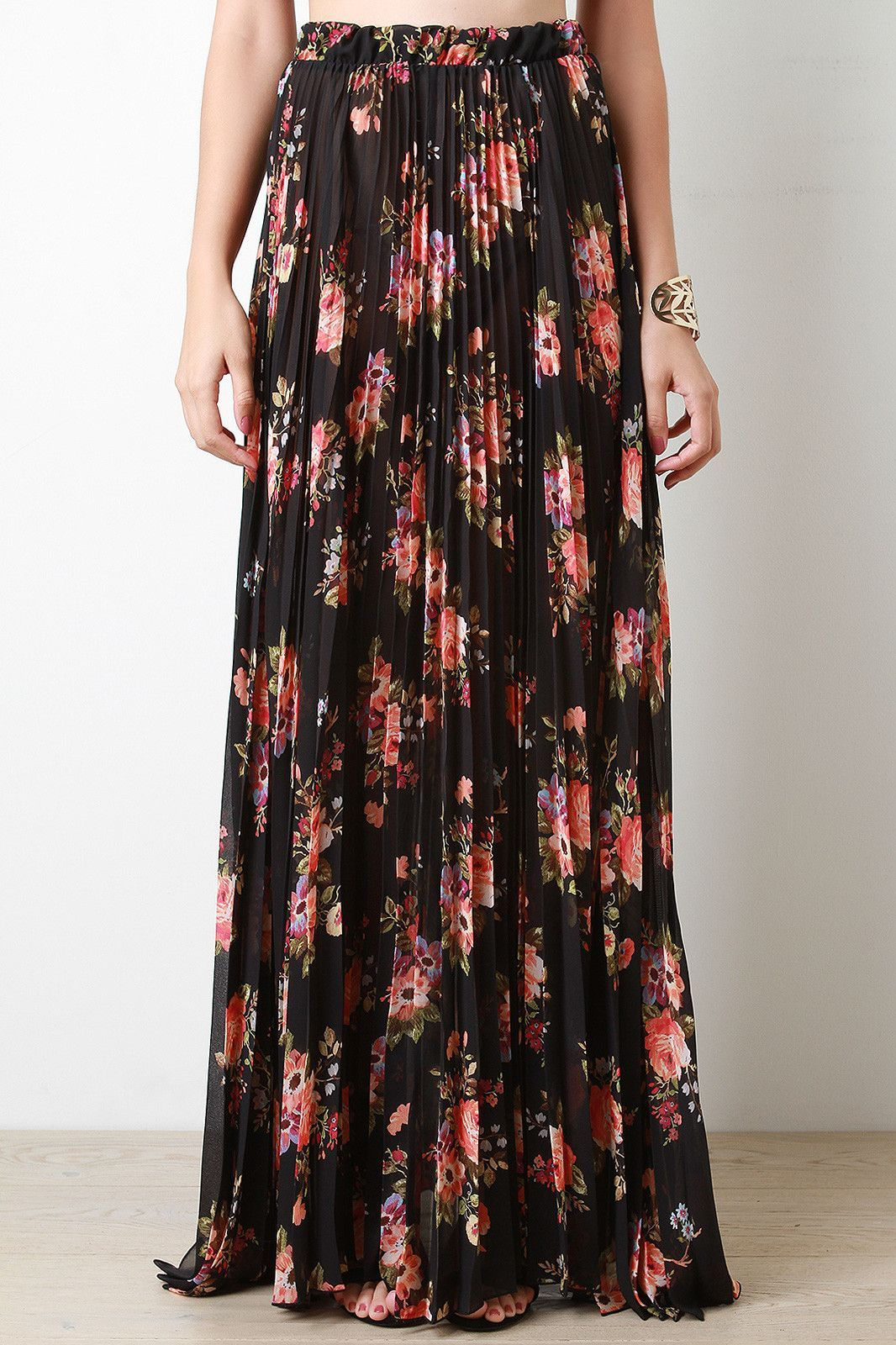 625b754dad This maxi skirt features semi-sheer chiffon, accordion pleats, floral  pattern, and elasticized waist. Accessories sold separately. Made in USA.