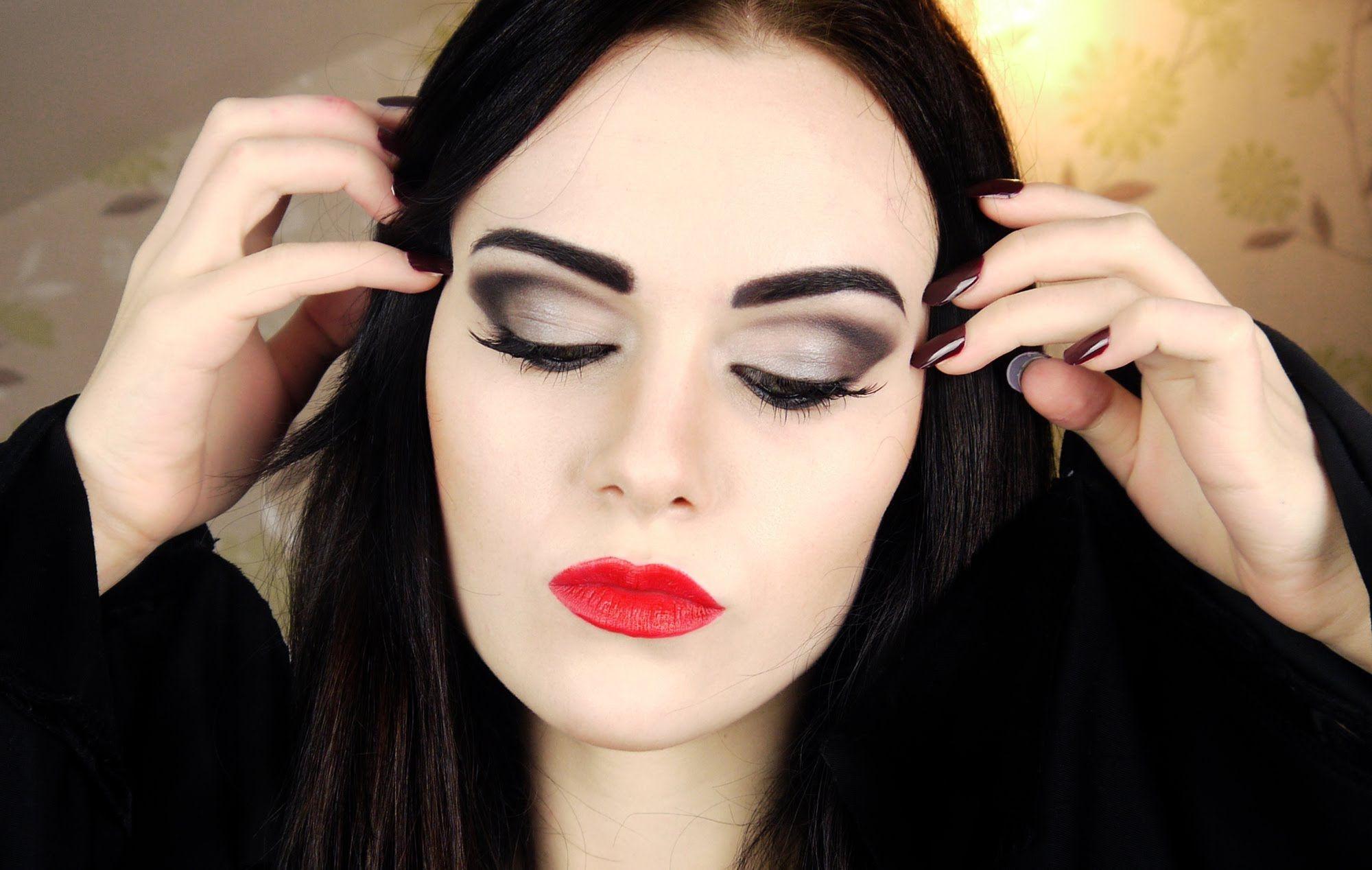 morticia addams makeup tutorial beauty diy makeup pinterest maquillage fete halloween et. Black Bedroom Furniture Sets. Home Design Ideas