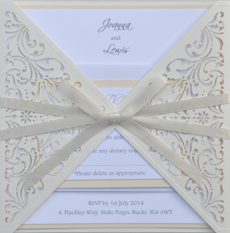 Triangle vintage lace laser cut invitation www.sew-unique.co.uk ...