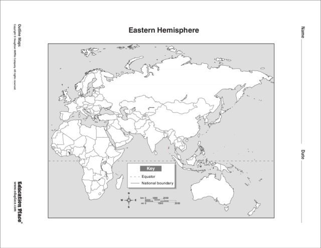Eastern Hemisphere Map 6th - 12th Grade Worksheet | Lesson ... on